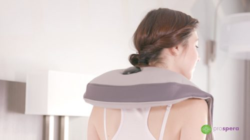 bYoung Neck and Shoulder Massager on Woman's Shoulders